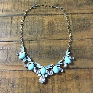 J. Crew gold mint blue jeweled statement necklace